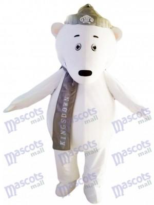 Eisbären mit grauem Hut und Schal Maskottchen Kostüm Tier