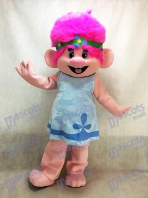 Trolls Karikatur Baby Mohnblumen Mädchen mit dem rosafarbenen Haar Maskottchen Kostüme