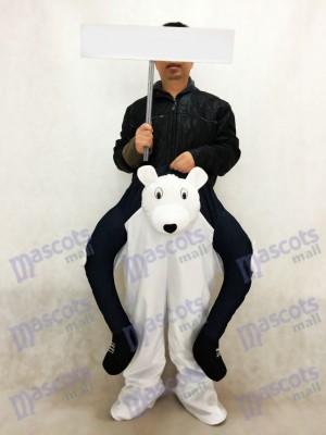 Piggyback Eisbär tragen mich Maskottchen Kostüm White Bear Maskottchen