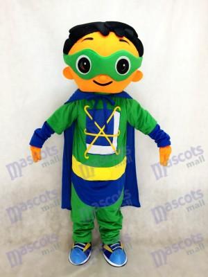 Super Warum Super Hero Maskottchen mit grünem Umhang Kostüm