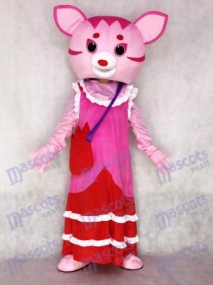 Fee rosa Katze erwachsenes Maskottchen Kostüm