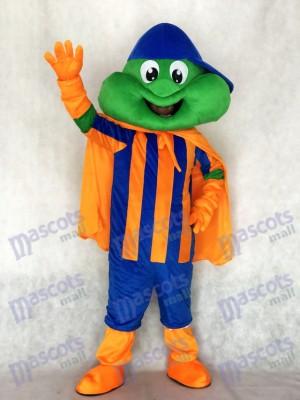 Glücklicher Frosch mit blauem Hut und orange Umhang Maskottchen Kostüm Tier