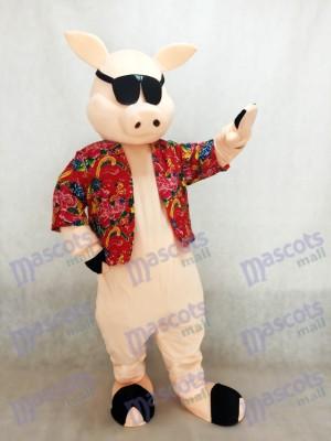 Schwein Ferkel Schwein mit Shirt & Sonnenbrille Maskottchen Kostüm