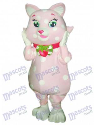 Rosa Kitty Cat mit weißen Flecken Maskottchen Kostüm Tier Karikatur