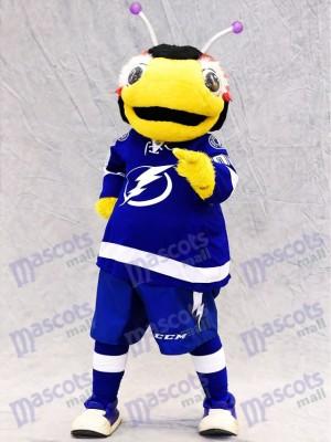 Tampa Bay Blitz Thunderbug Maskottchen Kostüm schwarz und gelb Blitz Bug Insekt