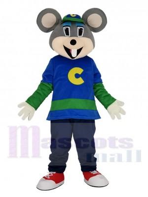 Komisch Chuck E. Cheese Maus mit Grün Hut Maskottchen Kostüm