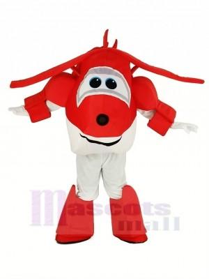 rot Flugzeug Jett Super Flügel Flugzeug Maskottchen Kostüm Karikatur