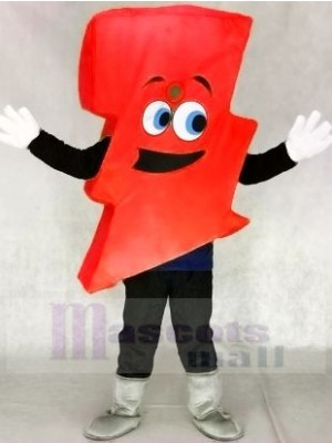 Neon rot Blitz Bolzen Herr. Elektrisch Blitz Bolzen Maskottchen Kostüme