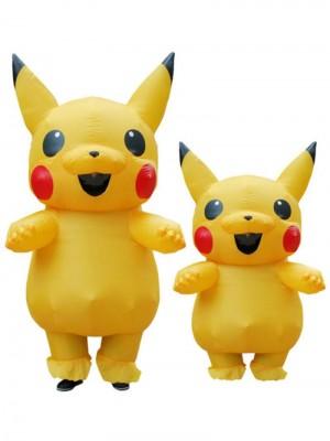 Gelb Pikachu Aufblasbar Kostüm Luft Schlag oben Cosplay Overall zum Erwachsener/Kind