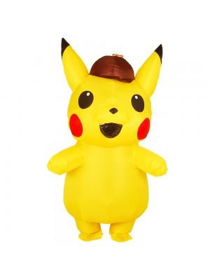 Gelb Pikachu mit Hut Aufblasbar Kostüm Luft Schlag oben Cosplay Overall zum Erwachsener/Kind