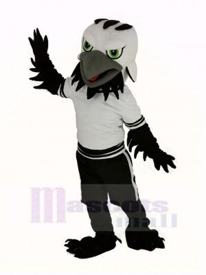 Schwarz Adler Falke mit Grün Augen Maskottchen Kostüm