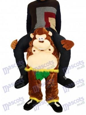 Huckepack Affe Carry Me Ride brauner Affe mit grünen Blättern Maskottchen Kostüm