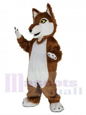 Brauner Wolf mit Gelbe Augen Maskottchen Kostüm Tier