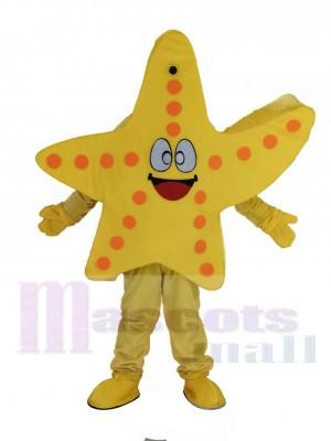 Lächelnd Gelb Seestern Maskottchen Kostüm