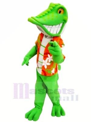 Lächelnd Grün Eidechse Maskottchen Kostüme Karikatur