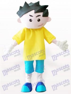 Gelb Kleidung Junge Cartoon Erwachsene Maskottchen Kostüm
