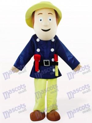 Feuerwehrmann im blauen Kleiderkarikatur Maskottchen Kostüm
