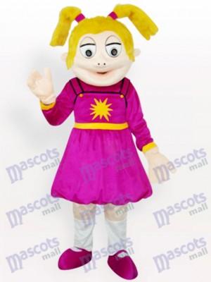 Lachende Mädchen Erwachsenen Maskottche Knostüm Cartoon