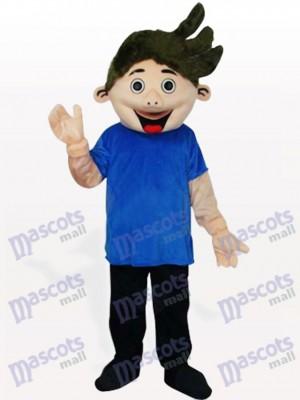 Kleiner Junge im blauen Hemd Maskottchen Kostüm für Erwachsene