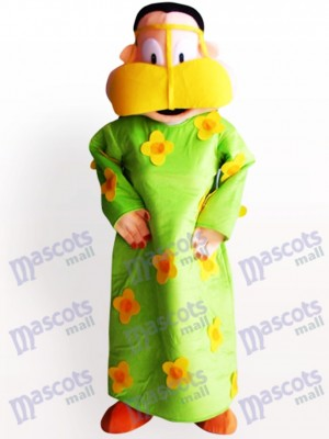 Fette Frau in grüner Kleidung Cartoon Adult Maskottchen Kostüm