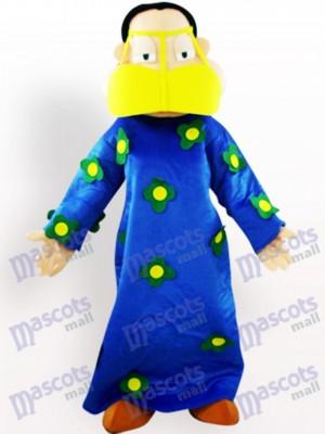 Fette Frau in blauer Kleidung Cartoon Adult Maskottchen Kostüm