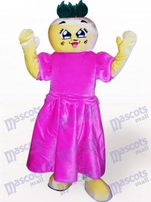 Flache Kopf Mädchen Cartoon Adult Maskottchen Kostüm