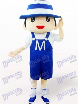 Blaue Haube Junge Cartoon Adult Maskottchen Kostüm