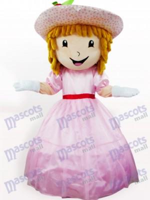 Rosafarbenes Erdbeerkuchen Mädchen Karikatur Erwachsen Maskottchen Kostüm