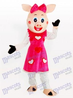 Lächelndes Schweinchen Mädchen erwachsenes Tiermaskottchen Kostüm