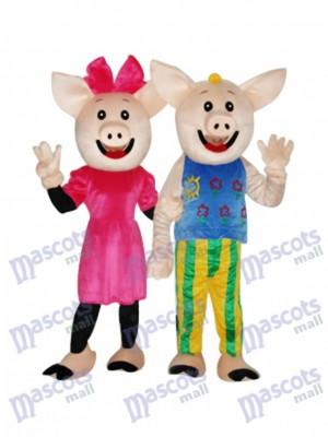 Kakao Paar Schwein Maskottchen Erwachsene Kostüm Tier
