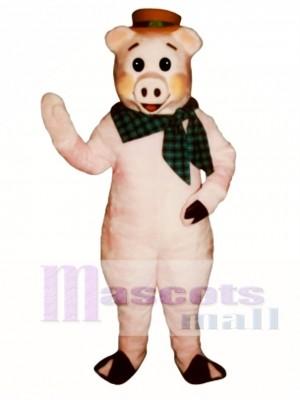 Nettes staatliches angemessenes Schwein mit Hut & Schal Maskottchen Kostüm