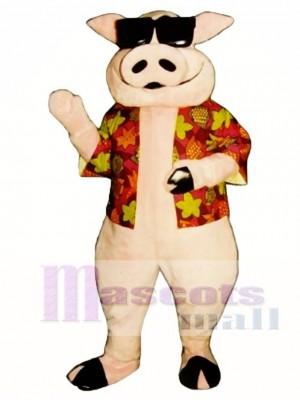 Schwein Ferkel Schwein mit Hawaiianer Hemd & Sonnenbrille Maskottchen Kostüm