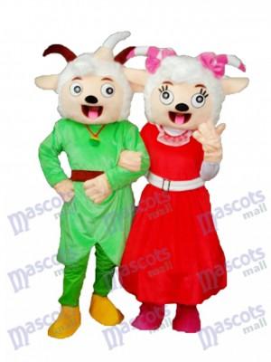 Lachender Mund Pleasant Goat & Beauty Schaf Maskottchen Adult Kostüm Tier