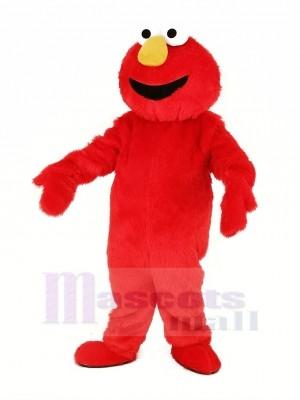 rot Behaart Monster Elmo Maskottchen Kostüm Karikatur