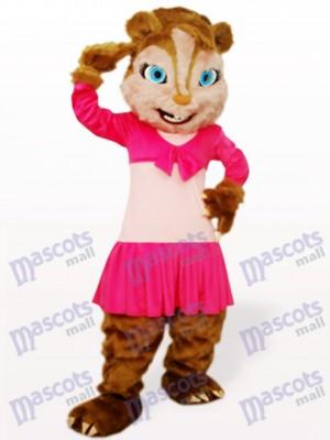 Rosa Langes Haar Eichhörnchen Tier Maskottchen Kostüm