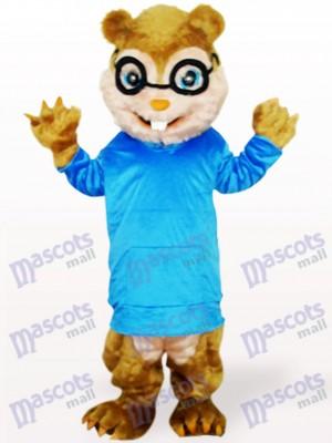 Blaues Eichhörnchen mit langen Haaren und kurzen Zähnen Tier Maskottchen Kostüm