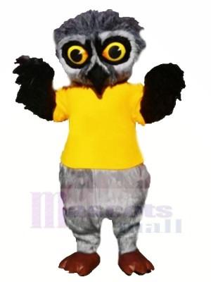 Grau Pelzig Eule mit Gelb T-Shirt Maskottchen Kostüme