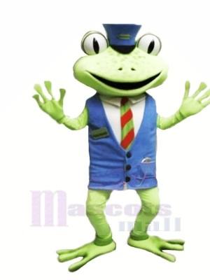Frosch mit Blau Weste Maskottchen Kostüme