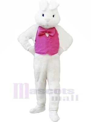 Weiß Hase mit Rosa Weste Maskottchen Kostüme Tier