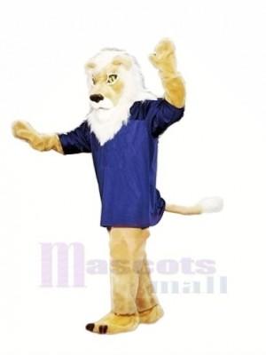 Braun Löwe mit Blau T-Shirt Maskottchen Kostüme Erwachsene
