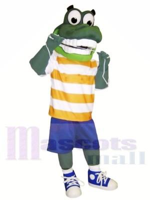 Grün Alligator mit Groß Augen Maskottchen Kostüme Tier
