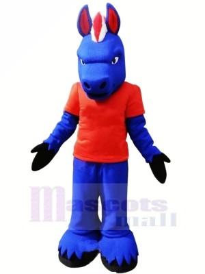 Blau Pferd mit rot T-Shirt Maskottchen Kostüme