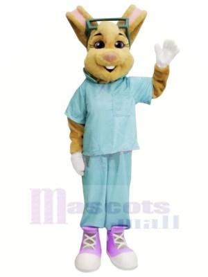 Arzt Hase mit Blau Passen Maskottchen Kostüme Tier