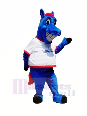 glücklich Blau Pferd Maskottchen Kostüme Karikatur