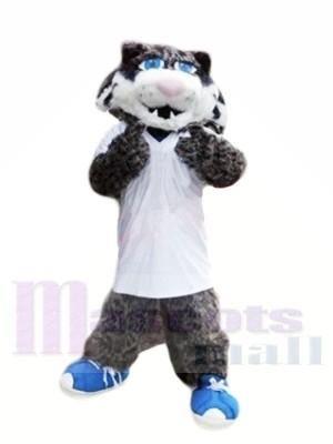Grau Wild Katze mit Blau Schuhe Maskottchen Kostüme Tier
