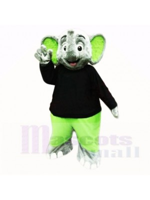 Grün Elefant mit Schwarz Hemd Maskottchen Kostüme Karikatur