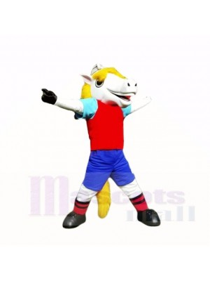 Lächelnd Sport Weiß Pferd Maskottchen Kostüme Karikatur