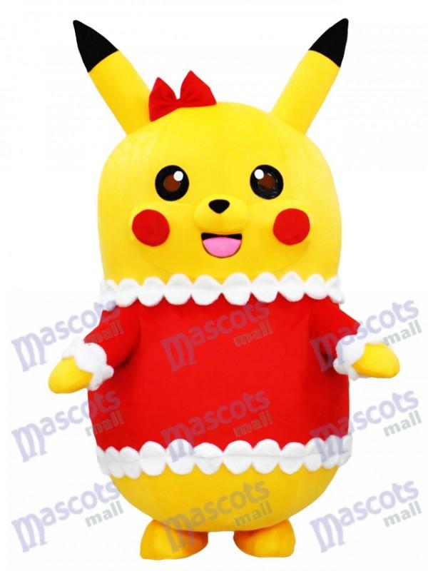 Pikachu Pokemon Pokémon Gehen Maskottchen Kostüm in Weihnachten Outfit mit Red Bow