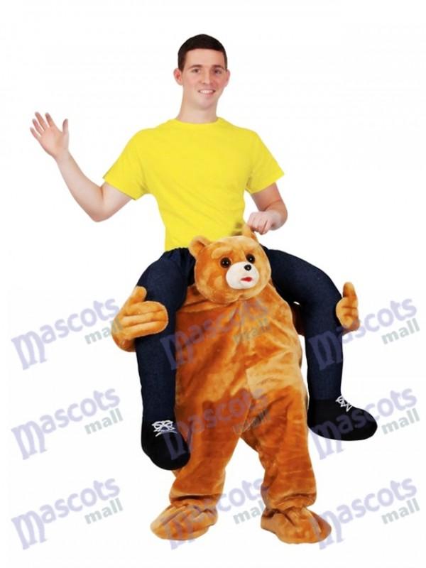 Fahrt auf mich Teddybär tragen mich Reiten Maskottchen Kostüm Braunbär gefüllt Hirsch Maskottchen