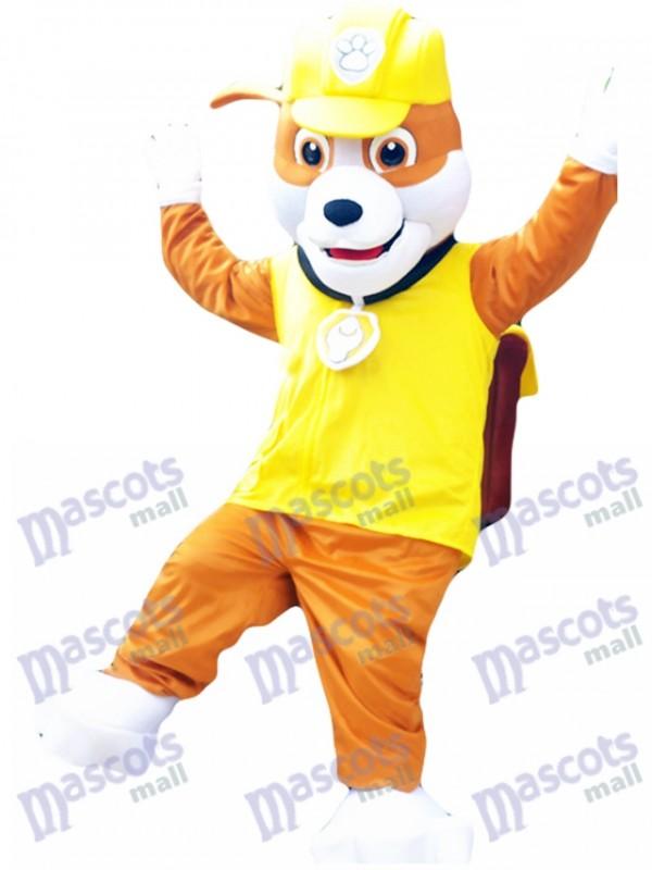 English Bulldog Construction Pup Paw Patrol Rubble Mascot Costume Yellow Dog